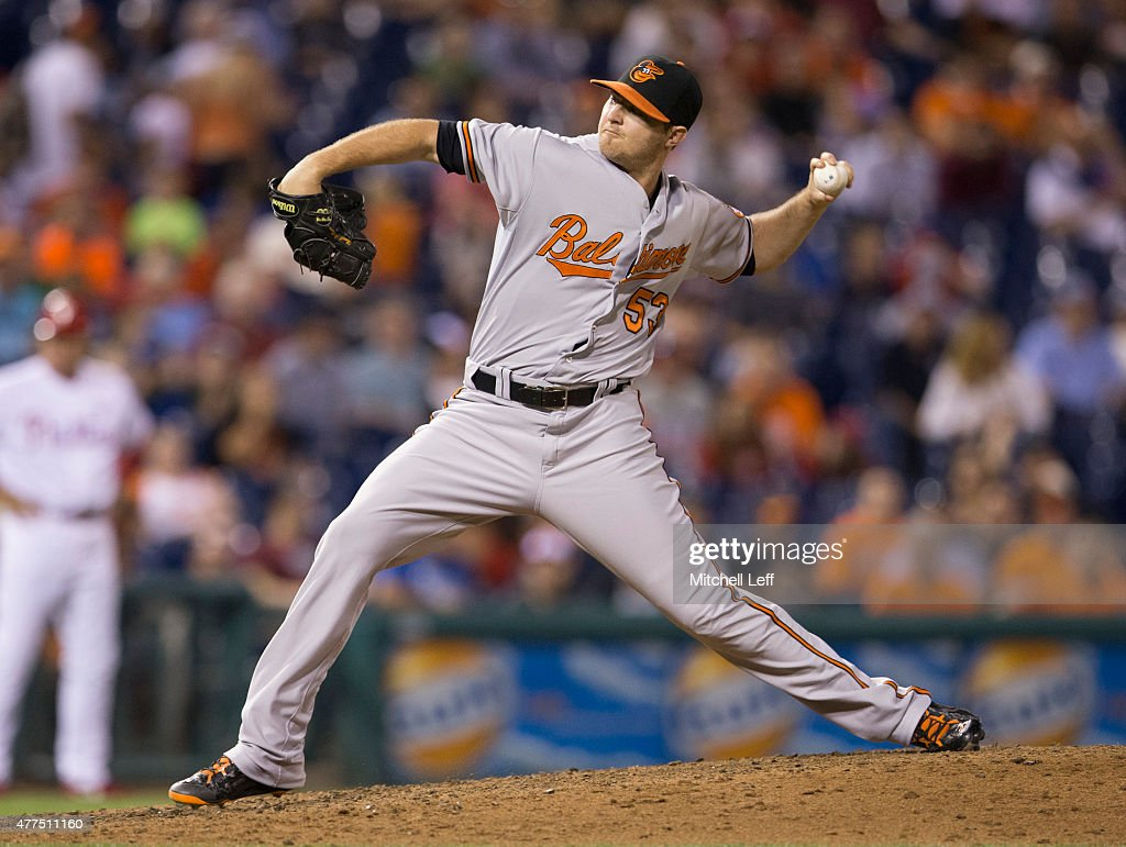 Zach Britton #53 of the Baltimore Orioles throws a pitch in the bottom of ninth inning against the Philadelphia Phillies on June 17, 2015 at the Citizens Bank Park in Philadelphia, Pennsylvania. The Orioles defeated the Phillies 6-4.