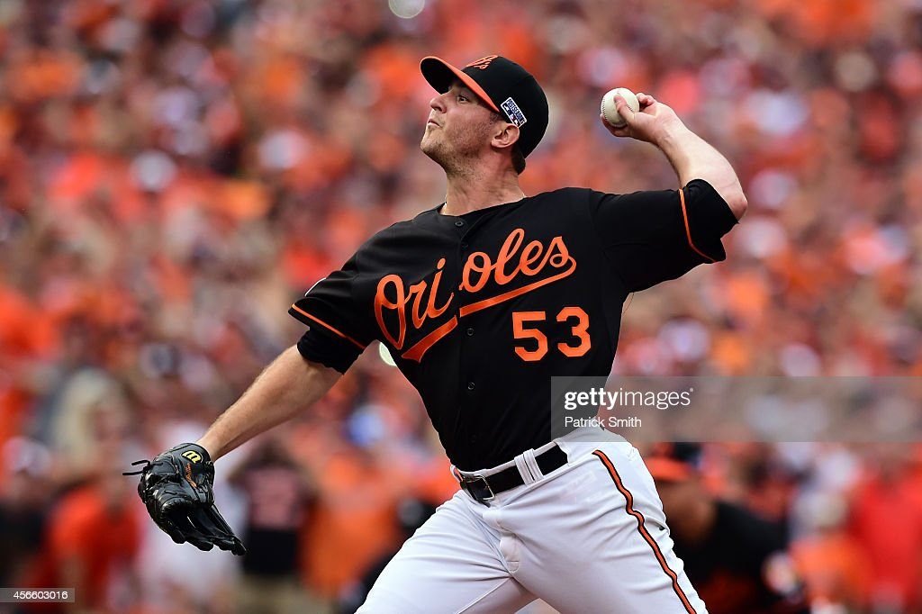 Zach Britton #53 of the Baltimore Orioles throws a pitch in the ninth inning against the Detroit Tigers during Game Two of the American League Division Series at Oriole Park at Camden Yards on October 3, 2014 in Baltimore, Maryland.