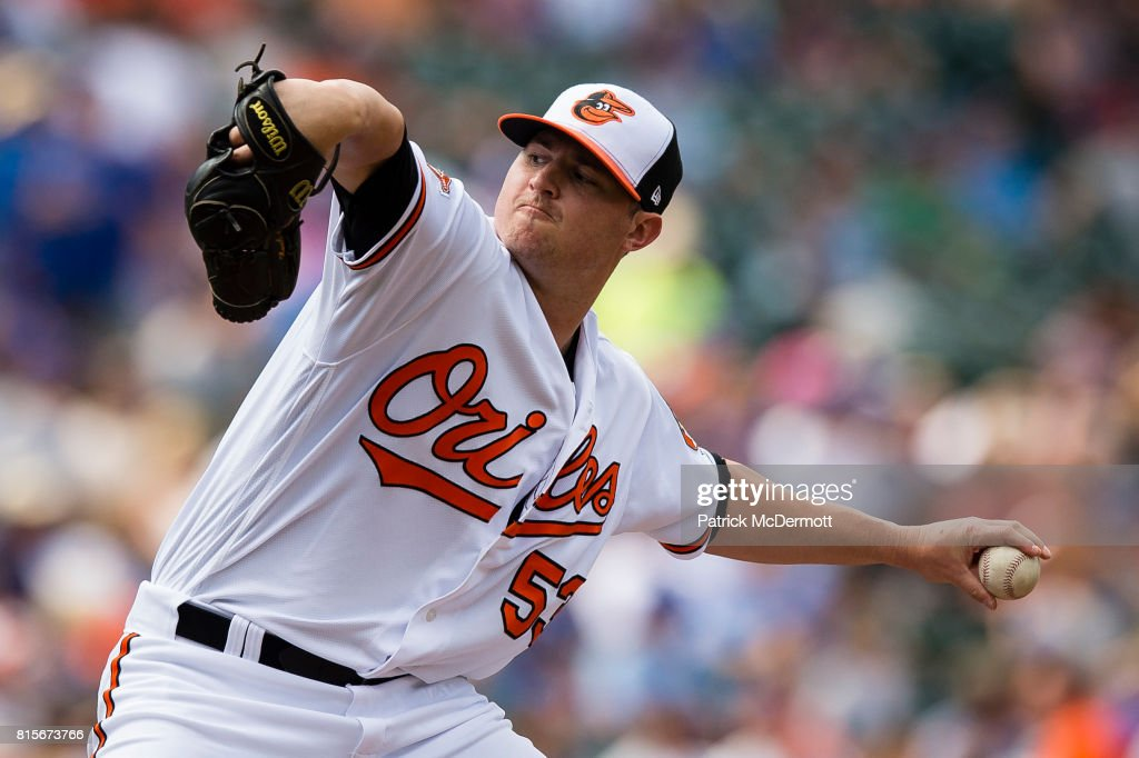 Zach Britton #53 of the Baltimore Orioles throws a pitch to a Chicago Cubs batter in the seventh inning during a game at Oriole Park at Camden Yards on July 16, 2017 in Baltimore, Maryland.