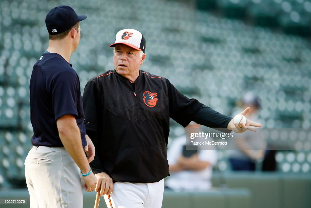 Zach Britton #53 of the New York Yankees talks to manager Buck Showalter #26 of the Baltimore Orioles before a game at Oriole Park at Camden Yards on August 24, 2018 in Baltimore, Maryland.