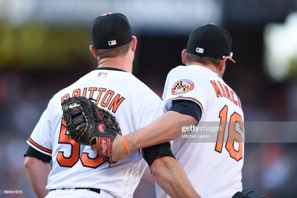 Zach Britton #53 Trey Mancini #16 of the Baltimore Orioles celebrate a win after a game one of a doubleheader baseball game against the New York Yankees at Oriole Park at Camden Yards on July 9, 2018 in Baltimore, Maryland.