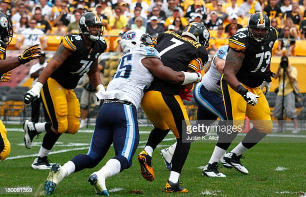 Zach Brown of the Tennessee Titans sacks Ben Roethlisberger of the Pittsburgh Steelers in the first half during the game on September 8 2013 at Heinz...