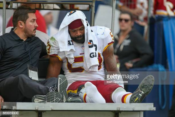 Zach Brown of the Washington Redskins left the game injured during a NFL game between the Washington Redskins and the Los Angeles Chargers on...