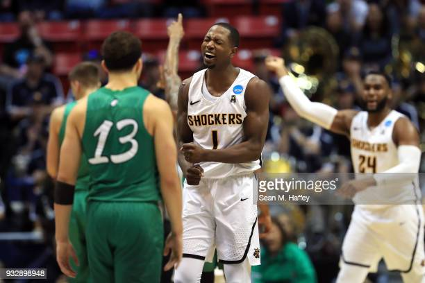 Zach Brown of the Wichita State Shockers reacts after a play in the second half against the Marshall Thundering Herd during the first round of the...