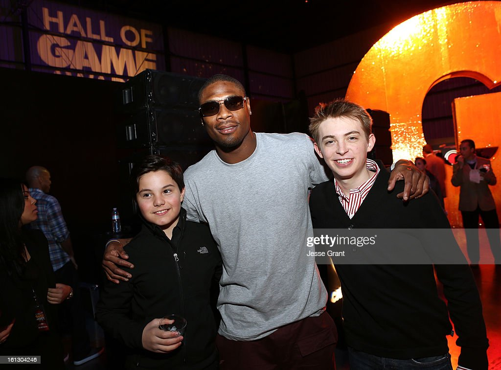 Zach Callison, Football player Jacoby Jones and Dylan Snyder attend the Third Annual Hall of Game Awards hosted by Cartoon Network at Barker Hangar on February 9, 2013 in Santa Monica, California. 23270_005_JG_0010.JPG