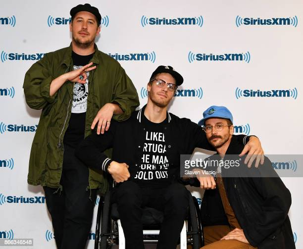 Zach Carothers Eric Howk and John Gourley of the band 'Portugal The Man' visit SiriusXM Studios on October 25 2017 in New York City