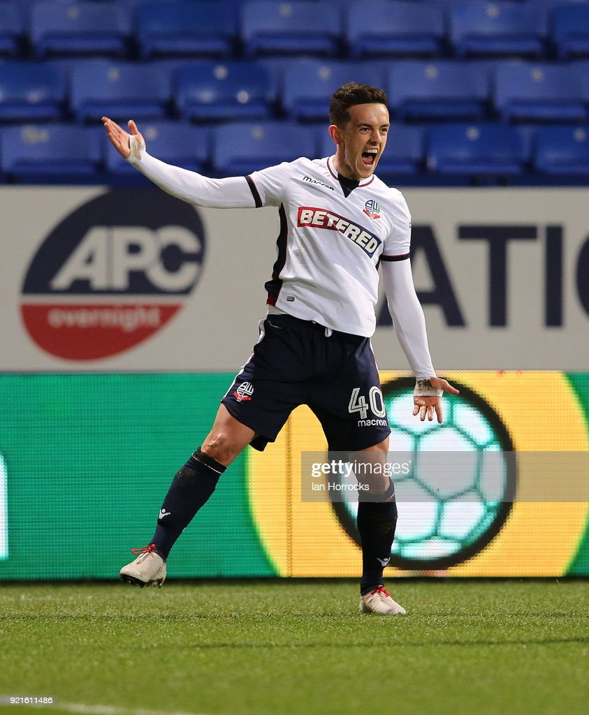 Zach Clough of Bolton celebrates scoring the opening goal during the Sky Bet Championship match between Bolton Wanderers and Sunderland at Macron Stadium on February 20, 2018 in Bolton, England.