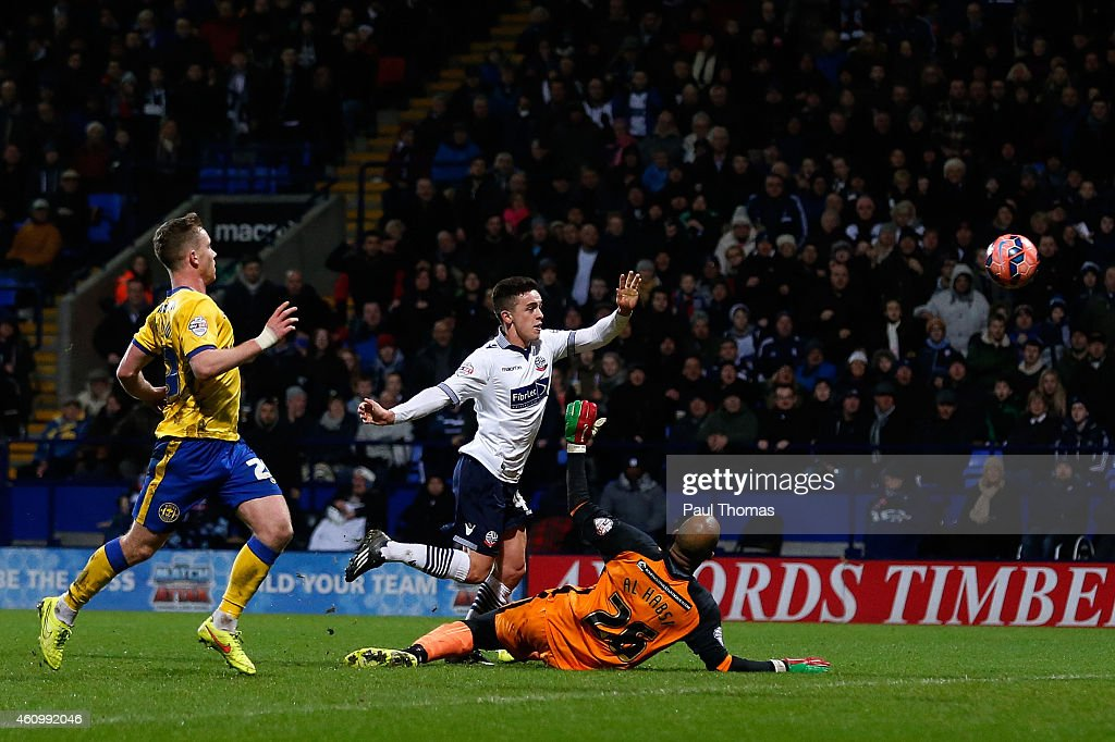 Zach Clough (C) of Bolton scores the opening goal during the FA Cup Third Round match between Bolton Wanderers and Wigan Athletic at the Macron Stadium on January 3, 2015 in Bolton, England.
