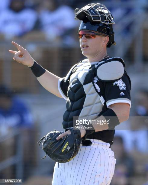 Zach Collins of the Chicago White Sox catches against the Los Angeles Dodgers on February 23 2019 at Camelback Ranch in Glendale Arizona