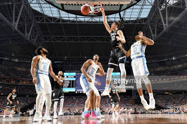 Zach Collins of the Gonzaga Bulldogs dunks during the 2017 NCAA Men's Final Four National Championship game against the North Carolina Tar Heels at...