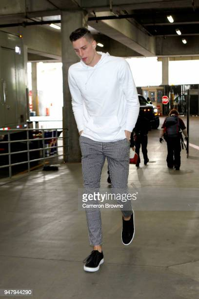 Zach Collins of the Portland Trail Blazers arrives at the arena before the game against the New Orleans Pelicans in Game Two of Round One of the 2018...