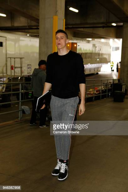 Zach Collins of the Portland Trail Blazers arrives to the arena prior to game one of round one of the 2018 NBA Playoffs against the New Orleans...