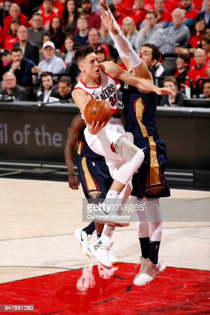 Zach Collins of the Portland Trail Blazers drives to the basket against the New Orleans Pelicans in Game Two of Round One of the 2018 NBA Playoffs on...