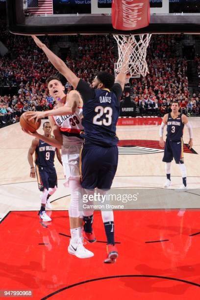 Zach Collins of the Portland Trail Blazers goes to the basket against the New Orleans Pelicans in Game Two of Round One of the 2018 NBA Playoffs on...