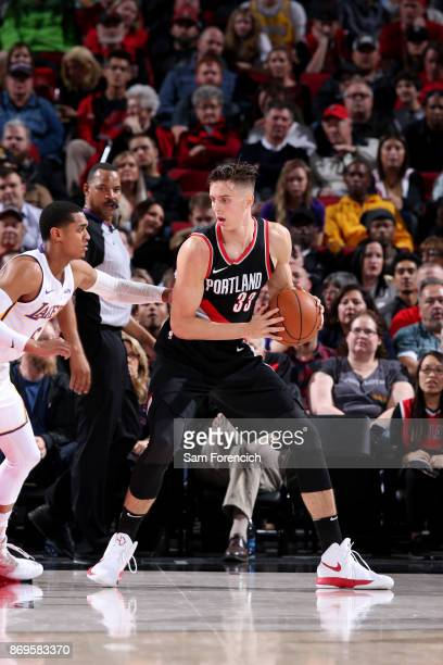 Zach Collins of the Portland Trail Blazers handles the ball against the Los Angeles Lakers on November 2 2017 at the Moda Center in Portland Oregon...