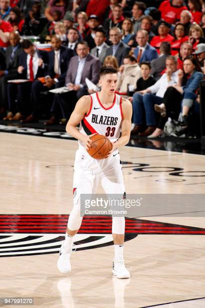 Zach Collins of the Portland Trail Blazers handles the ball against the New Orleans Pelicans in Game Two of Round One of the 2018 NBA Playoffs on...