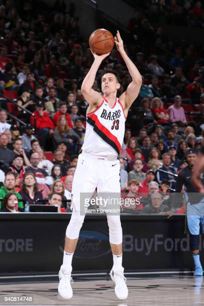 Zach Collins of the Portland Trail Blazers shoots the ball against the Memphis Grizzlies on April 1 2018 at the Moda Center Arena in Portland Oregon...