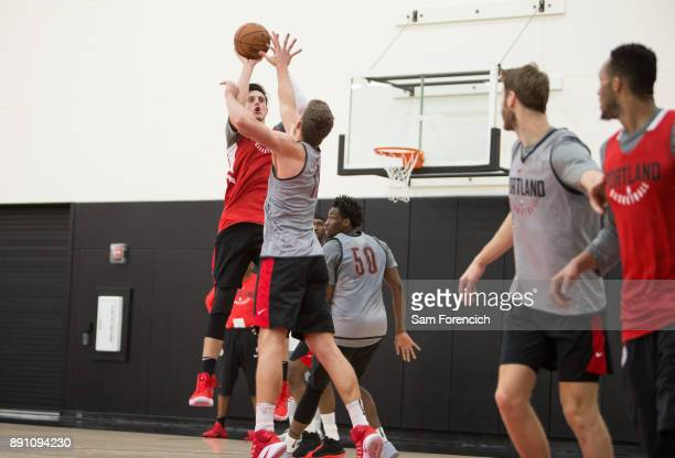 Zach Collins of the Portland Trail Blazers shoots the ball during an all access practice on December 7 2017 at the Trail Blazer Practice Facility in...