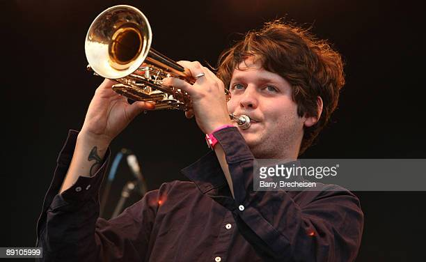 Zach Condon of Beirut performs during the 2009 Pitchfork Music Festival at Union Park on July 18 2009 in Chicago Illinois