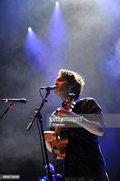 Zach Condon of Beirut performs on stage at the O2 Academy Brixton on September 24, 2015 in London, England.