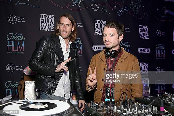 Zach Cowie and Elijah Wood DJ as Wooden Wisdom during the after party of the Austin Film Society's 2016 Texas Film Awards at Austin Studios on March...