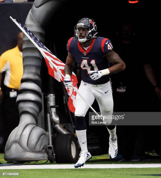 Zach Cunningham of the Houston Texans introduced on Salute to Services day at NRG Stadium on November 5, 2017 in Houston, Texas. Indianapolis Colts...