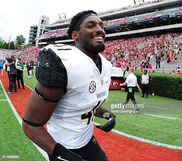 Zach Cunningham of the Vanderbilt Commodores celebrates after the game against the Georgia Bulldogs at Sanford Stadium on October 15, 2016 in Athens,...