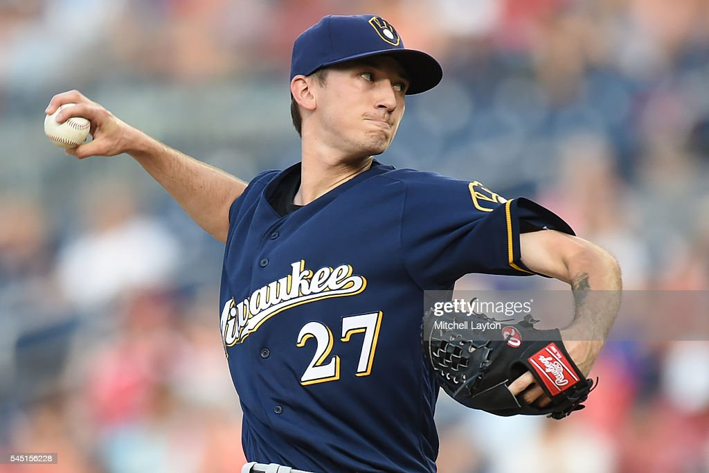 Zach Davies #27 of the Milwaukee Brewers pitches in the first inning during a baseball game against the Baltimore Orioles at Nationals Park on July 5, 2016 in Washington, DC.