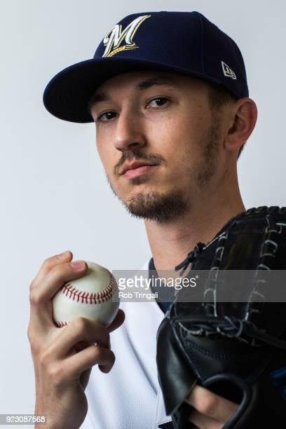 Zach Davies of the Milwaukee Brewers poses for a portrait during Photo Day at the Milwaukee Brewers Spring Training Complex on February 22 2018 in...