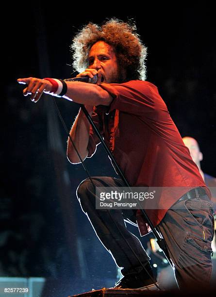 Zach de la Roche fronts Rage Against The Machine as they perform at the Tent State Music Festival to End The War Concert at the Denver Coliseum on...
