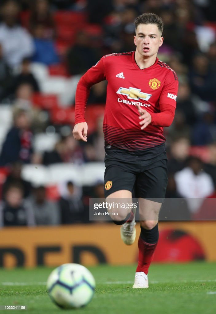 Zach Dearnley of Manchester United U23s in action during the Premier League 2 match between Manchester United U23s and Reading U23s at Old Trafford on September 14, 2018 in Manchester, England.