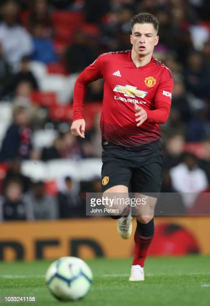 Zach Dearnley of Manchester United U23s in action during the Premier League 2 match between Manchester United U23s and Reading U23s at Old Trafford...