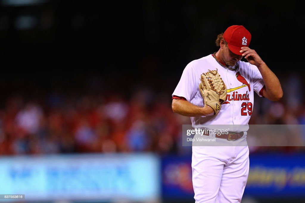 Zach Duke #29 of the St. Louis Cardinals reacts after giving up a two-run home run against the San Diego Padres in the seventh inning at Busch Stadium on August 22, 2017 in St. Louis, Missouri.