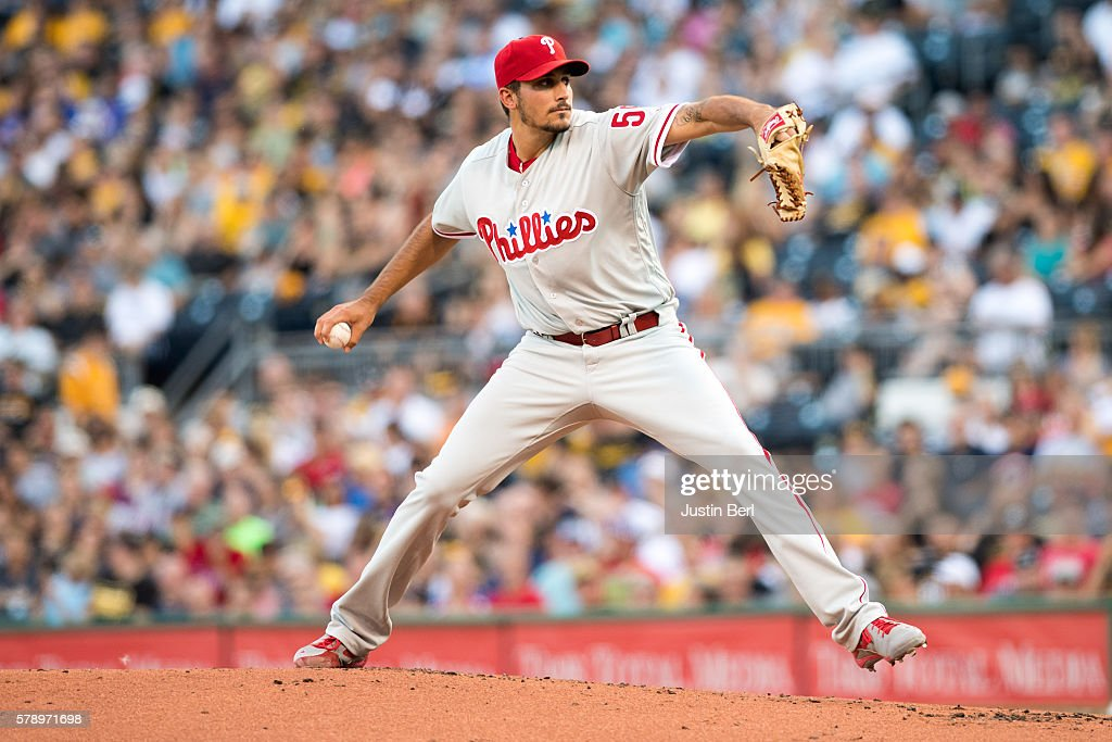 Zach Eflin #56 of the Philadelphia Phillies delivers a pitch in the first inning during the game against the Pittsburgh Pirates at PNC Park on July 22, 2016 in Pittsburgh, Pennsylvania.
