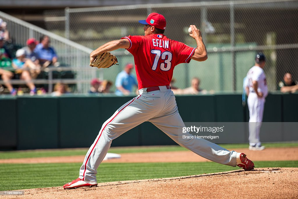 Zach Eflin #73 of the Philadelphia Phillies pitches against the Minnesota Twins during a spring training game on March 9, 2016 at Hammond Stadium in Fort Myers, Florida.