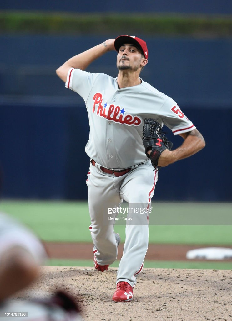 Zach Eflin #56 of the Philadelphia Phillies pitches during the first inning of a baseball game against the San Diego Padres at PETCO Park on August 10, 2018 in San Diego, California.