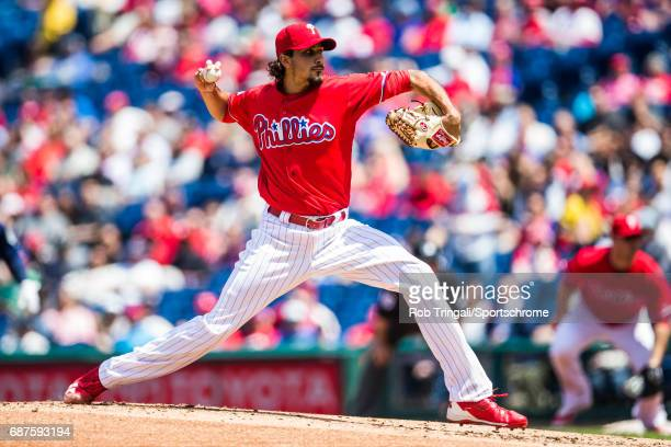 Zach Eflin of the Philadelphia Phillies pitches during the game against the Seattle Mariners at Citizens Bank Park on May 10 2017 in Philadelphia...