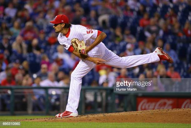 Zach Eflin of the Philadelphia Phillies throws a pitch during a game against the Colorado Rockies at Citizens Bank Park on May 23 2017 in...