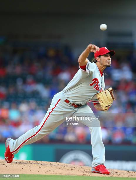 Zach Eflin of the Philadelphia Phillies throws in the first inning against the Texas Rangers at Globe Life Park in Arlington on May 17 2017 in...