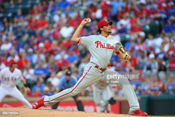 Zach Eflin of the Philadelphia Phillies throws in the second inning against the Texas Rangers at Globe Life Park in Arlington on May 17 2017 in...