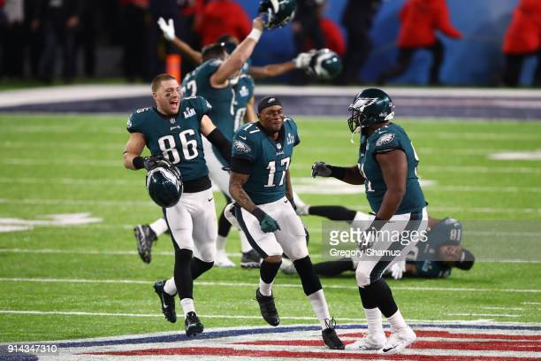 Zach Ertz and Alshon Jeffery of the Philadelphia Eagles celebrate defeating the New England Patriots 4133 in Super Bowl LII at US Bank Stadium on...
