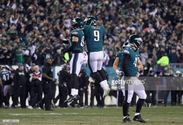 Zach Ertz and Nick Foles of the Philadelphia Eagles celebrate the 53 yard touchdown reception by Alshon Jeffery during the second quarter against the...