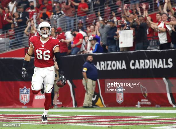 Zach Ertz of the Arizona Cardinals celebrates after scoring a touchdown in the third quarter against the Houston Texans in the game at State Farm...
