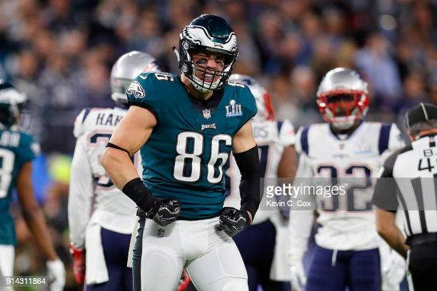 Zach Ertz of the Philadelphia Eagles celebrates after catching a 19yard reception during the second quarter against the New England Patriots in Super...