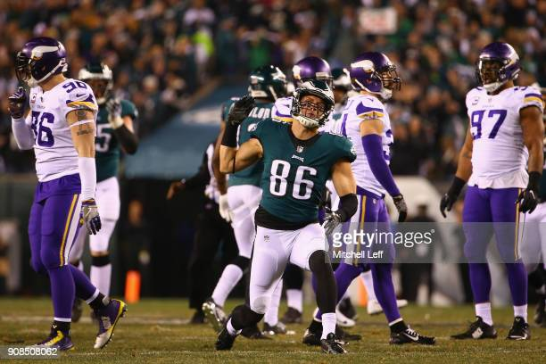 Zach Ertz of the Philadelphia Eagles celebrates after making a reception during the second quarter against the Minnesota Vikings in the NFC...
