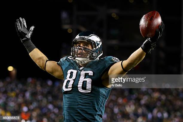 Zach Ertz of the Philadelphia Eagles celebrates after scoring a yard touchdown pass from Nick Foles in the fourth quarter against the New Orleans...