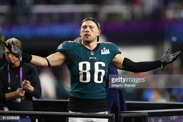 Zach Ertz of the Philadelphia Eagles celebrates defeating the New England Patriots 4133 in Super Bowl LII at US Bank Stadium on February 4 2018 in...
