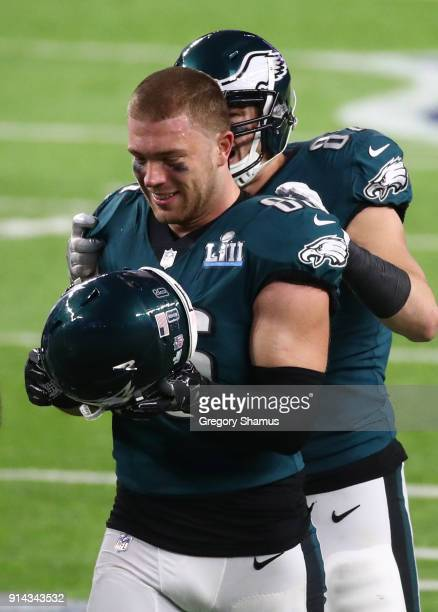 Zach Ertz of the Philadelphia Eagles celebrates his 11 yard touchdown catch with teammate Trey Burton during the fourth quarter against the New...