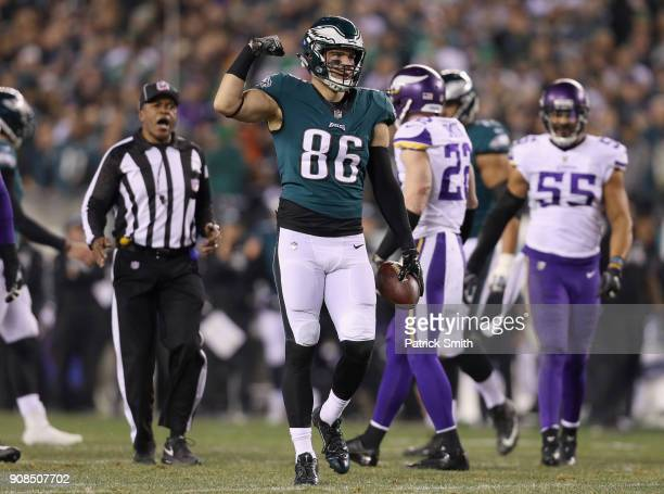 Zach Ertz of the Philadelphia Eagles celebrates the play during the second quarter against the Minnesota Vikings in the NFC Championship game at...