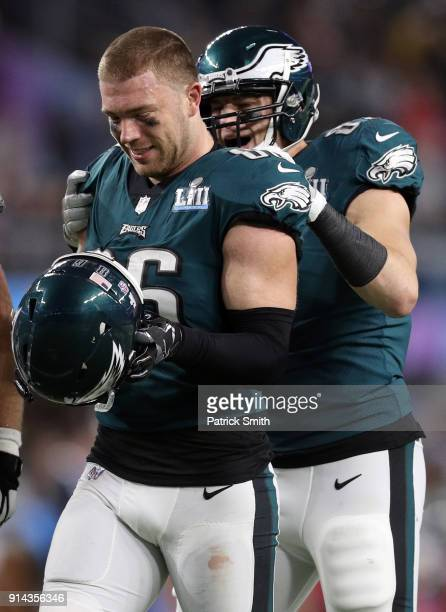 Zach Ertz of the Philadelphia Eagles celebrates with teammates against the New England Patriots during the second half in Super Bowl LII at US Bank...